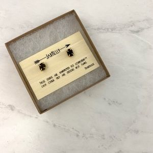 NIB Jax Kelly Gold Prong Obsidian Stone Earrings